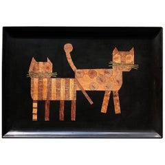 Midcentury Couroc Tray of Cats, Couroc of Monterey, 1960s-1970s