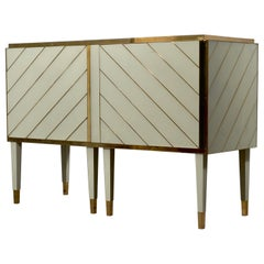 Midcentury Cream Color Glass and Brass Sideboards, 2021