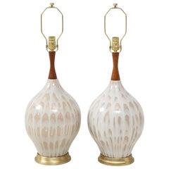 Midcentury Cream, Taupe Ceramic Lamps