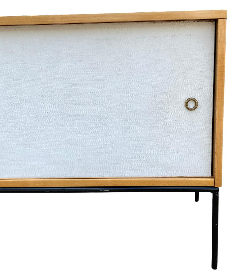 20th Century Midcentury Credenza by Paul McCobb Planner Group #1513 White Doors Iron For Sale