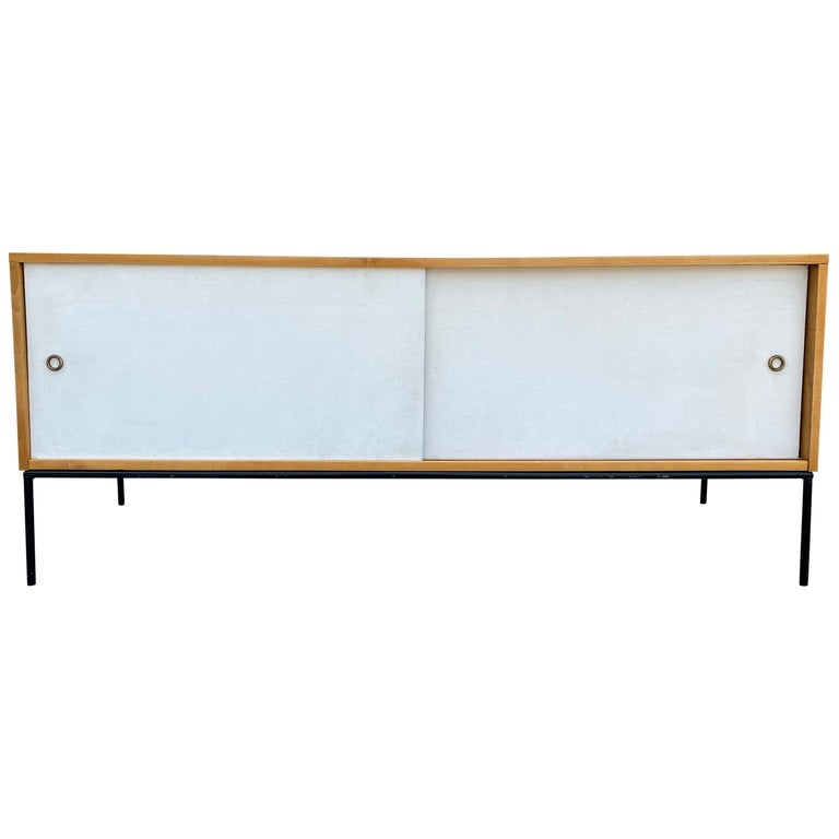 Midcentury Credenza by Paul McCobb Planner Group #1513 White Doors Iron For Sale