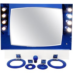 Midcentury Cristal Art Blue Glass and Chrome Italian Illuminated Mirror, 1970s
