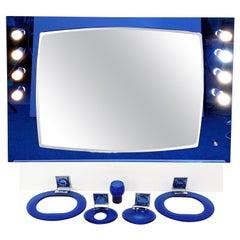 Midcentury Cristal Art Blue Glass and Chrome Italian Illuminated Mirror, 1970s