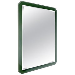 Midcentury Cristal Art Rectangular Green Glass Faceted Wall Mirror, 1960s, Italy