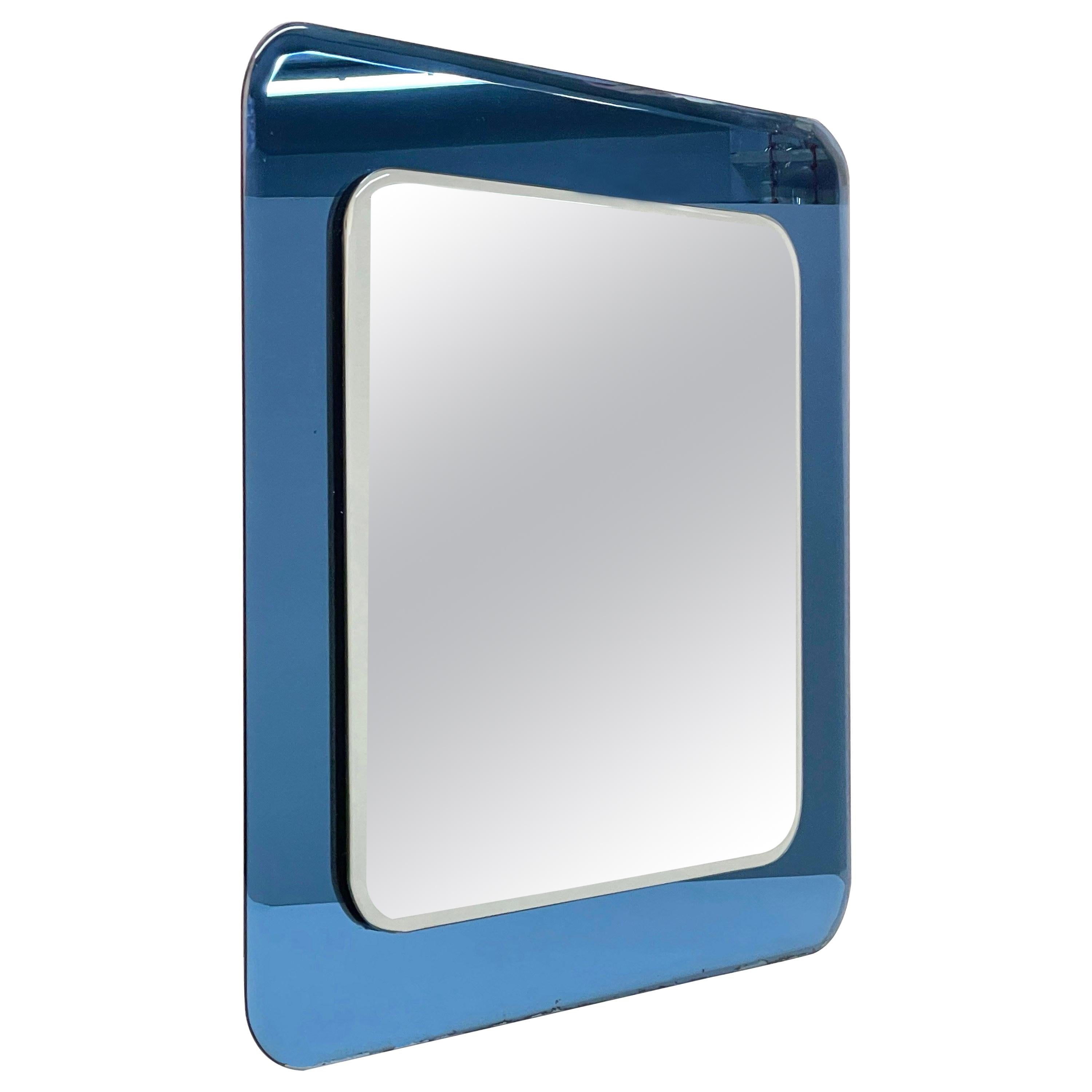 Midcentury Cristal Art Square Italian Wall Mirror with Blue Glass Frame, 1960s