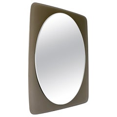 Midcentury Cristal Art Attr. Oval Smoked Crystal Glass Wall Mirror, 1960s, Italy