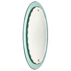 Midcentury Cristal Arte Black Iron Oval Italian Mirror with Graven Frame, 1960s