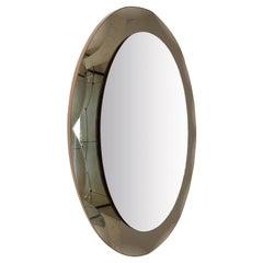 Midcentury Cristal Arte Italian Oval Mirror with Graven Bronzed Frame, 1960s