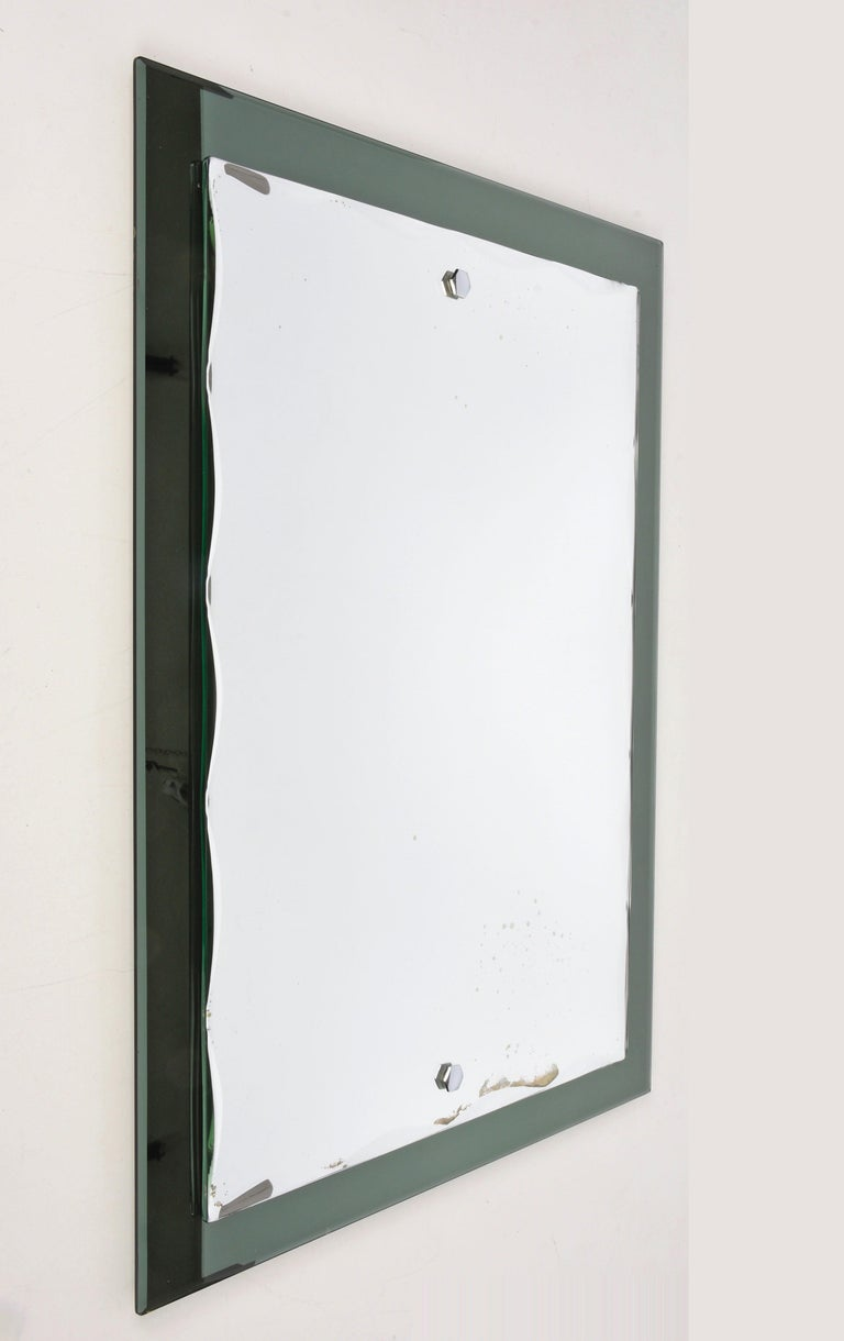 Mid-Century Modern Midcentury Cristal Arte Italian Rectangular Carved Mirror with Frame, 1960s For Sale