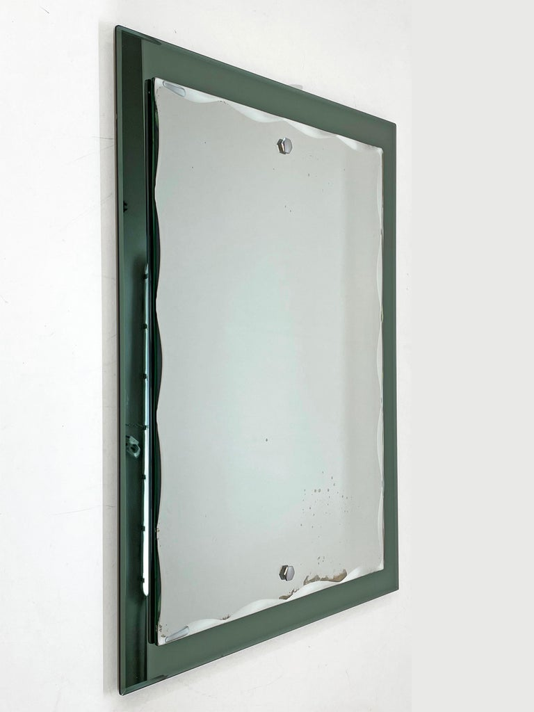 Midcentury Cristal Arte Italian Rectangular Carved Mirror with Frame, 1960s In Good Condition For Sale In Roma, IT