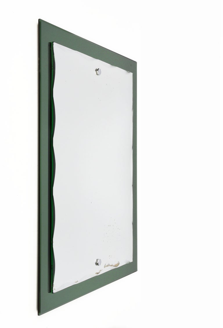 Mid-20th Century Midcentury Cristal Arte Italian Rectangular Carved Mirror with Frame, 1960s For Sale