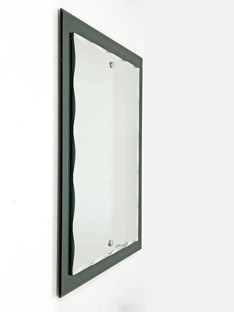 Midcentury Cristal Arte Italian Rectangular Carved Mirror with Frame, 1960s For Sale 1
