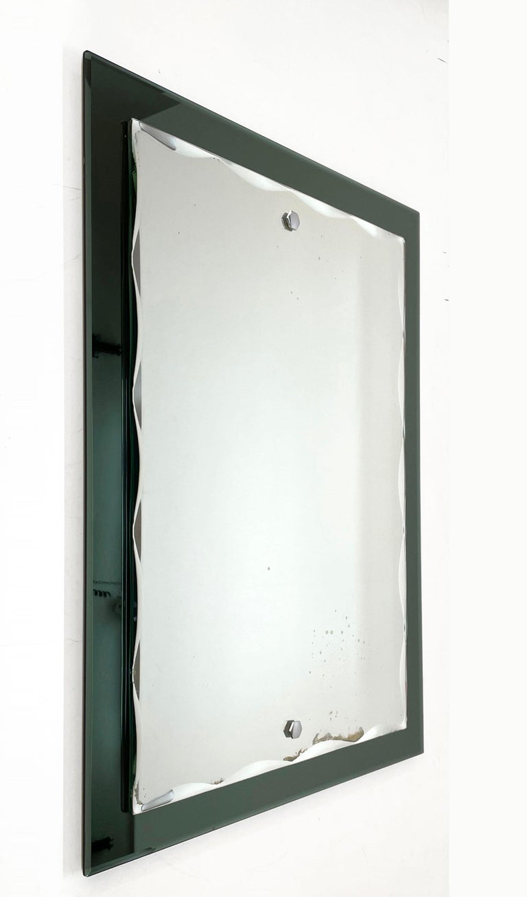 Midcentury Cristal Arte Italian Rectangular Carved Mirror with Frame, 1960s For Sale 2