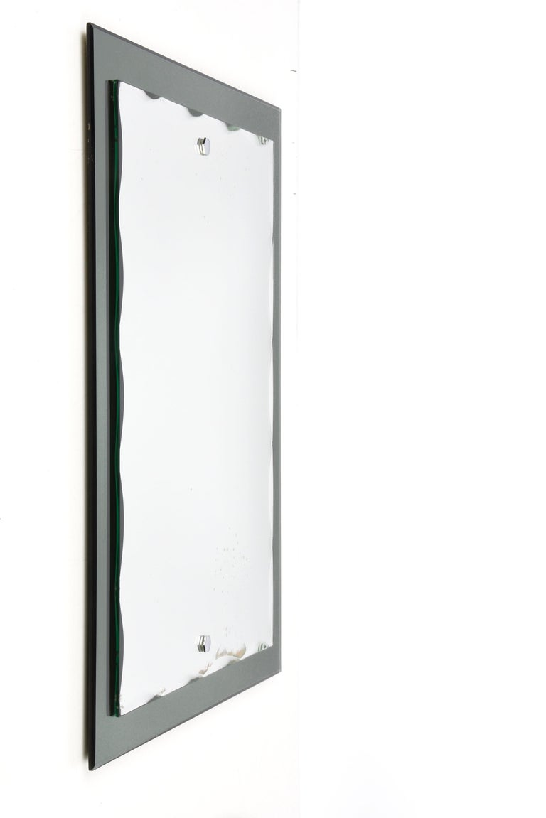 Midcentury Cristal Arte Italian Rectangular Carved Mirror with Frame, 1960s For Sale 3
