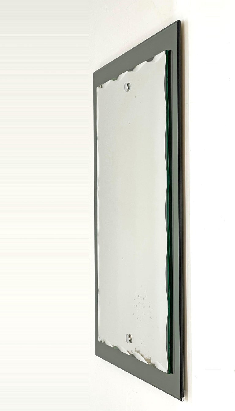 Midcentury Cristal Arte Italian Rectangular Carved Mirror with Frame, 1960s For Sale 4