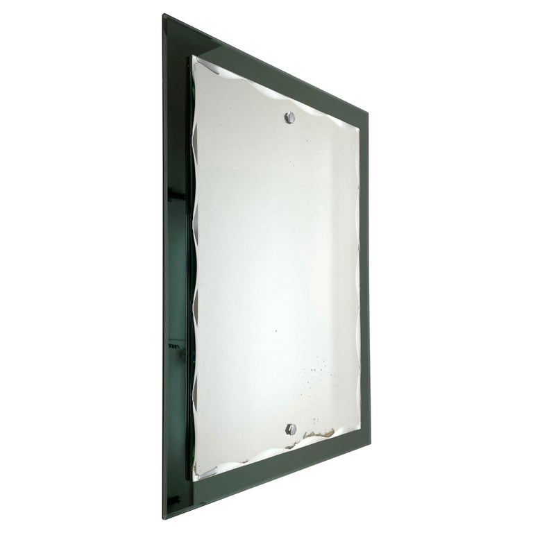 Midcentury Cristal Arte Italian Rectangular Carved Mirror with Frame, 1960s For Sale
