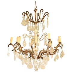 Midcentury Crystal and Brass Ornate Chandelier
