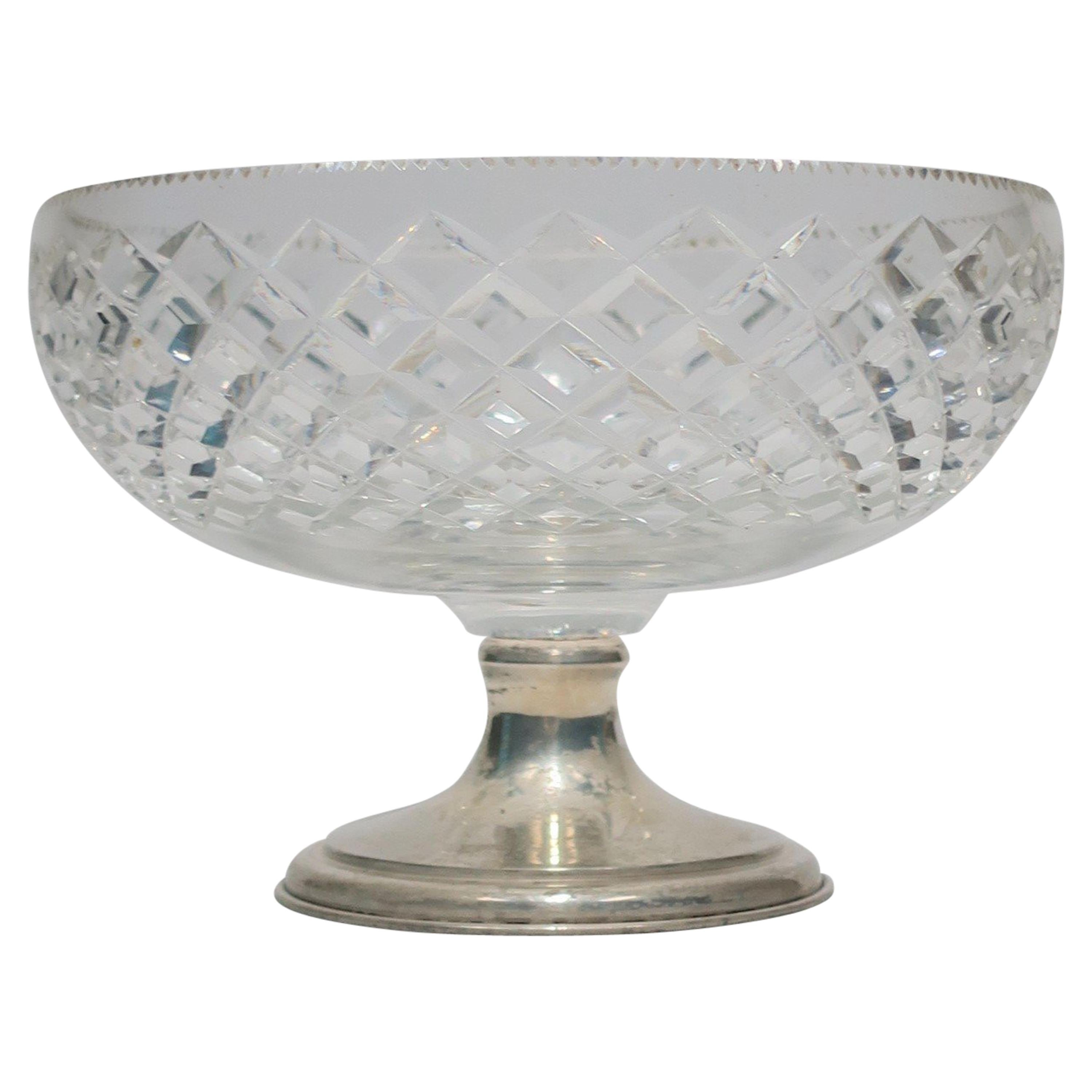 Midcentury Crystal and Sterling Silver Compote or Footed Bowl