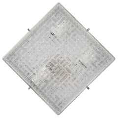 Midcentury Crystal Glass and Steel Squared Italian Sconce, 1970s