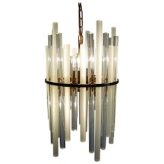 Midcentury Crystal Glass Rod and Brass Chandelier by Christoph Palme & Co, 1960s