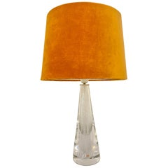 Midcentury Crystal Glass Table Lamp by Vicke Lindstrand Kosta, Sweden
