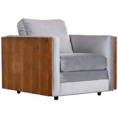 Midcentury Cubist Modern Club Chair in Baughman Style Grey Velvet Reupholstered