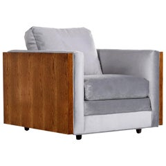 Midcentury Cubist Modern Club Chair in Baughman Style Grey Velvet Reupholstered