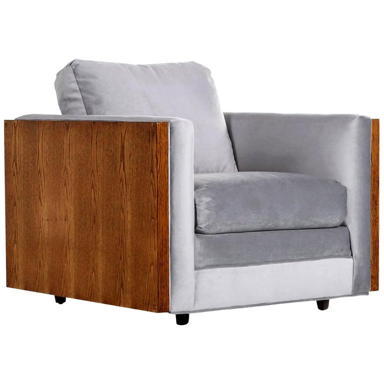 Midcentury Cubist Modern Club Chair in Baughman Style Grey Velvet Reupholstered For Sale