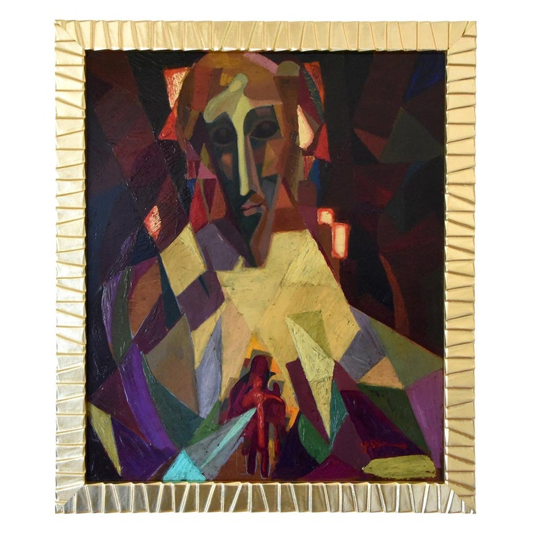 Midcentury Cubist Oil Painting Portrait Louis Giraud, 1950 For Sale