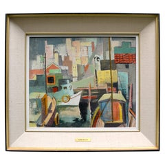 Midcentury Cubist Painting of San Francisco by Henri Masson
