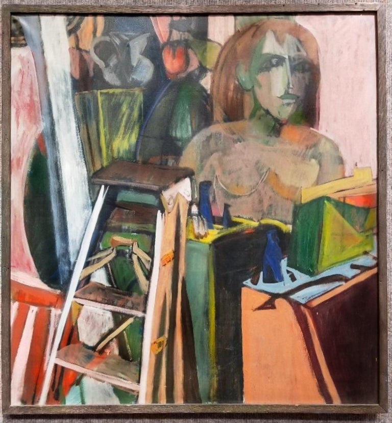 Mid-century Cubist still-life with ladder, oil on canvas, Martin Lubner, circa 1959 Painting still life by Martin Lubner. Painting: 32.5