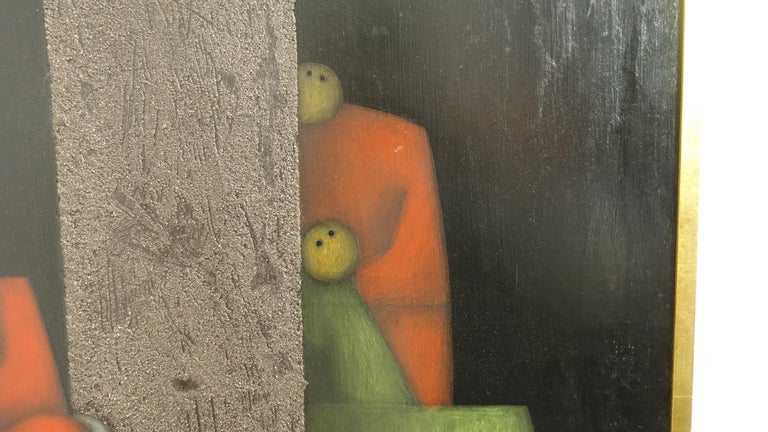 Mid-Century Modern Midcentury Cubist Style Figural Painting, Signed and Dated 1965 For Sale