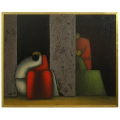 Midcentury Cubist Style Figural Painting, Signed and Dated 1965