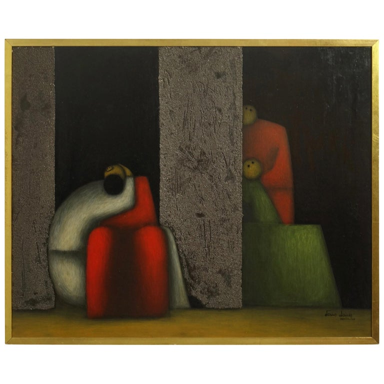 Midcentury Cubist Style Figural Painting, Signed and Dated 1965 For Sale