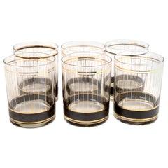Midcentury Culver Ltd. Black & 24-Karat Gold Striped Cocktail Glasses, Set of 6