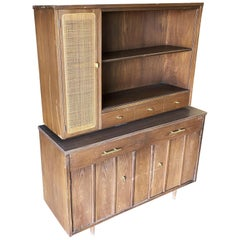 Midcentury Cupboard China Cabinet Shelf with Wicker Accents by Holman