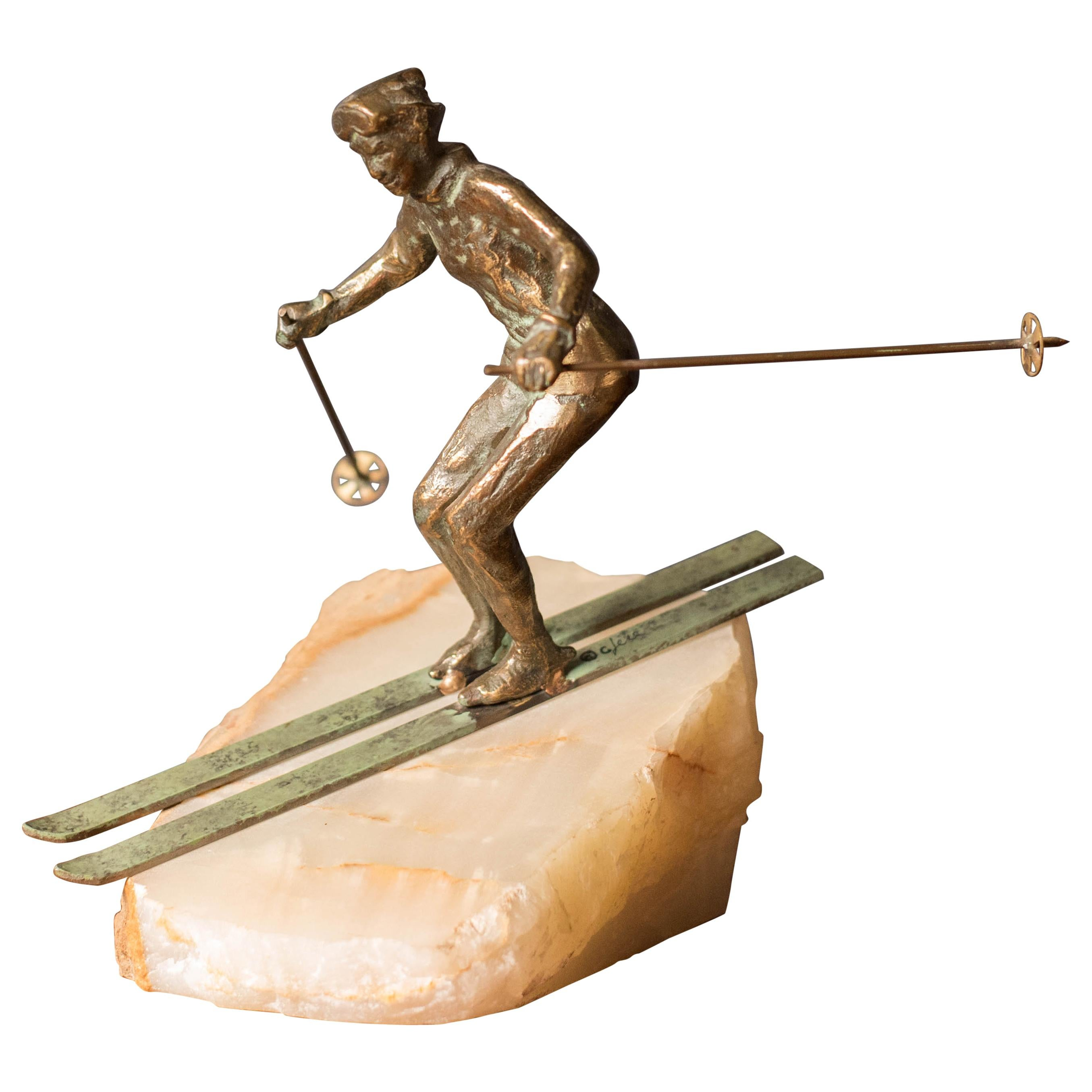 Mid Century Curtis Jere Bronze Skier Sculpture on Stone for Artisan House
