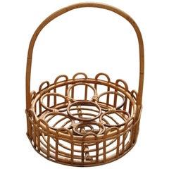Midcentury Curved Bamboo Portable Bar Bonacina Italian Design 1950s