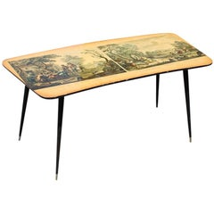 Midcentury Curved Coffee Table with Wagner Prints, Metal Feet and Gold Brass