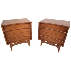Midcentury Curved Front Nightstands, a Pair