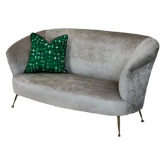 Midcentury Curved Parisi Sofa on Brass Feet