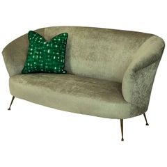 Midcentury Curved Parisi Sofa on Brass Feet