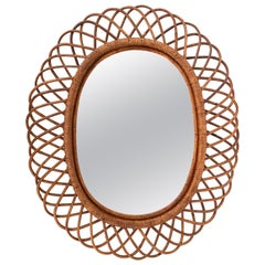 Midcentury Curved Rattan and Bamboo Italian Double Framed Oval Mirror, 1960