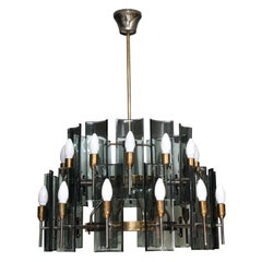 Italian Mid-century 24-Lights Curved Smoked Glass Chandelier