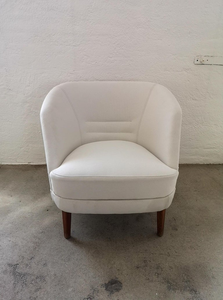 Midcentury Curved Sofa and Chair OPE Sweden, 1950s For Sale 3