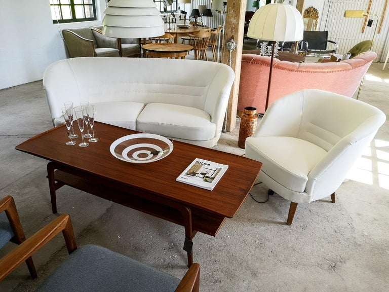 Midcentury Curved Sofa and Chair OPE Sweden, 1950s For Sale 11