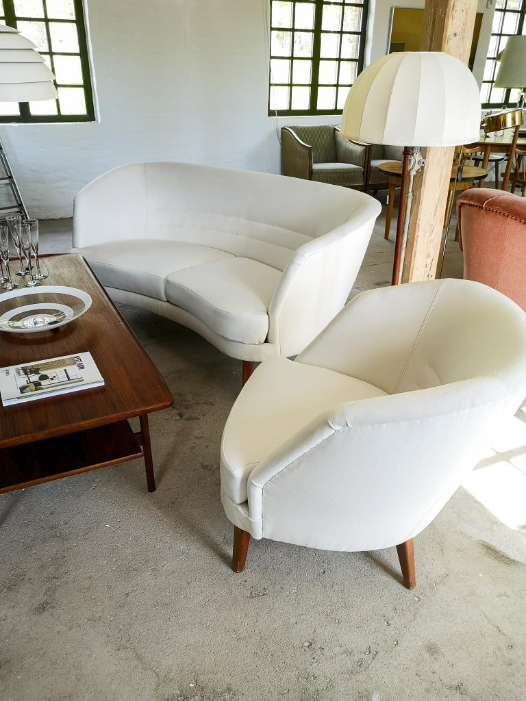 Midcentury Curved Sofa and Chair OPE Sweden, 1950s For Sale 12