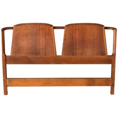 Mid-Century Curved Walnut Queen Headboard Frame by Dillingham
