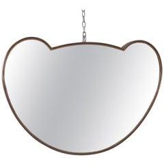 Midcentury Curvilinear Brass Italian Mirror, Italy, 1950s