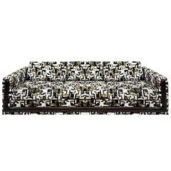 Vintage Jack Lenor Larsen Velvet Sofa, Black, Gold, Green, 1960s Mid-Century Mod